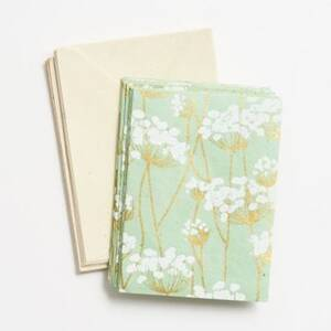 White Blossoms on Mint Stationery Set