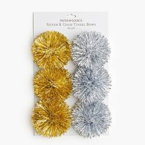 Silver and Gold Tinsel Bows