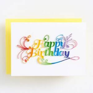 Quilling Rainbow Script Birthday Card