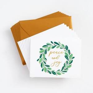 Peace and Joy Wreath Holiday Card Set