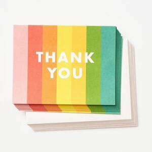 Rainbow Stripes Thank You Card Set
