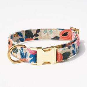 Rosa Floral Natural Medium Dog Collar