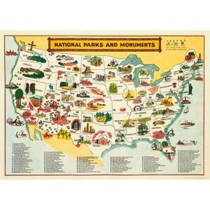 National Parks Map Wrap & Poster