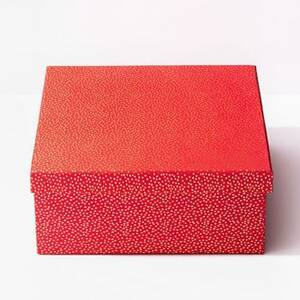 Gold Flurry Dots On Red Robe Box