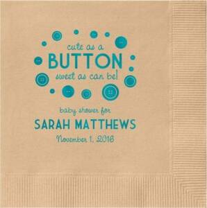 Button Baby Shower Custom Cocktail Napkins