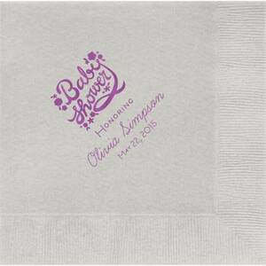 Floral Script Baby Shower Custom Lunch Napkins