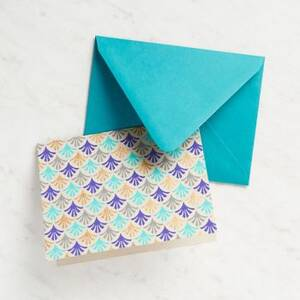 Abstract Repeat Blue Fans Stationery Set