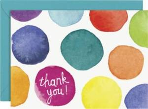Watercolor Dots Thank You Card Set