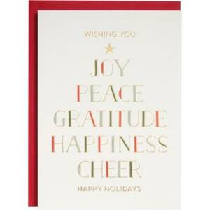 Gold Foil Type Tree Holiday Card Set