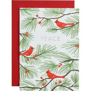 Silver Foil Peace Cardinals Holiday Card Set