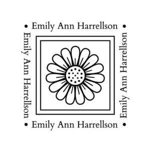 Flower Square Text Custom Stamp