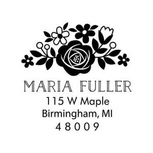 Floral Address Custom Stamp