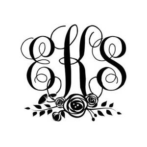 Script Monogram Floral Custom Stamp