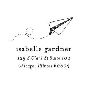Paper Plane Address Custom Stamp