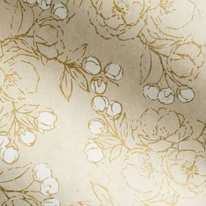 Gold And White Sketch Floral on Cream Handmade Paper