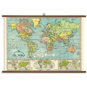 World Map Vintage School Chart