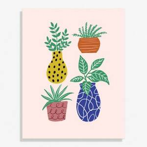 Funky Plants Large Art Print