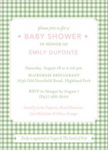Gingham Baby Shower Invitation