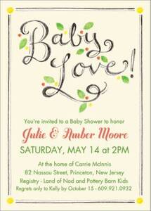 Chalk Script Baby Shower Invitation