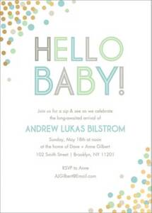 Gold Foil Stamped Cool Hello Confetti Baby Shower Invitation