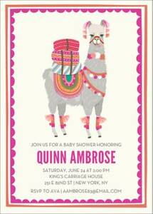 Pink Llama Baby Shower Invitation
