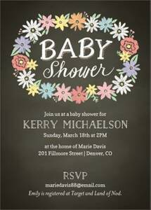Chalk Floral Baby Shower Invitation