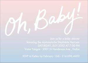 Oh Baby Watercolor Baby Shower Invitation