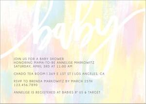 Pastel Brush Baby Shower Invitation