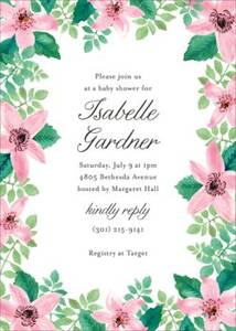 Clematis Baby Shower Invitation