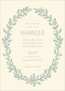 Leafy Frame Baby Shower Invitation