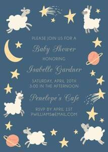 Space Lambs Baby Shower Invitation