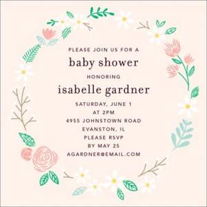 Daisy Floral Wreath Baby Shower Invitation