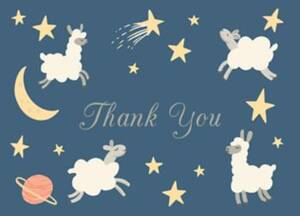 Space Lambs Baby Thank You Notes