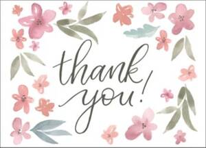 Watercolor Floral Baby Thank You Notes