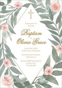Greenery Blossoms Baptism Invitation