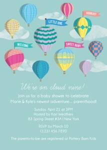 Balloons Baby Shower Invitation