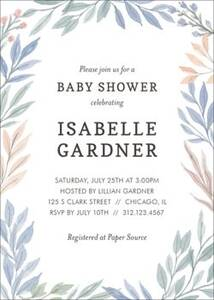 Soft Foliage Baby Shower Invitation