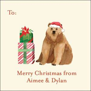 Beary Christmas Gift Tag Label