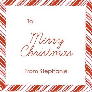 Peppermint Border Holiday Gift Tag Label