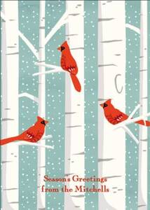 Cardinals in Birch Trees Holiday Card
