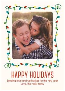 String Lights Frame Holiday Photo Card