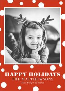 White Red Dots Holiday Photo Card