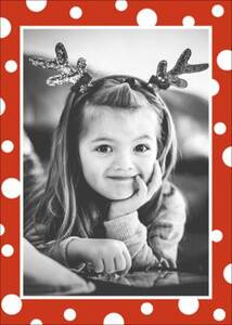 White Red Dots Vertical Photo Card