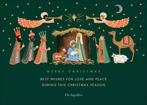 Evergreen Nativity Holiday Card