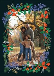 Winter Floral Holiday Photo Card