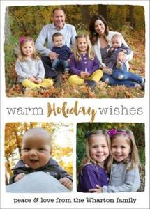Warm Holiday Wishes 3 Holiday Multi-Photo Card