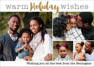 Warm Holiday Wishes 4 Holiday Multi-Photo Card