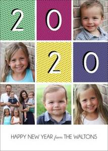 Happy New Year Blocks Holiday Photo Card