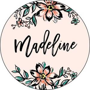 Pink Florals Personalized Stickers