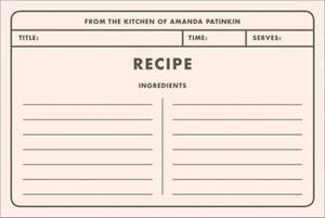 Memo Custom Recipe Card